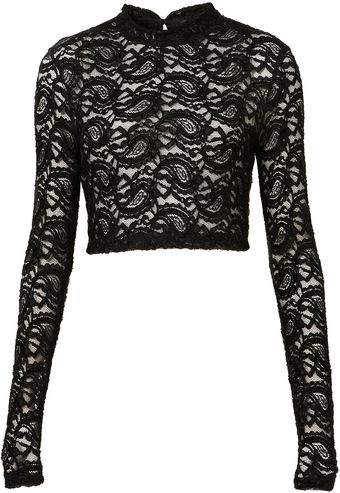 Topshop Lace Roll Neck Crop Top - Lyst