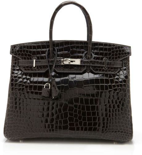 Vintage Hermès From Heritage Auctions 35cm Graphite Shiny Porosus Crocodile Birkin in Black (graphite) - Lyst