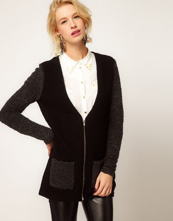 ASOS Collection  Contrast Cardigan with Zip - Lyst