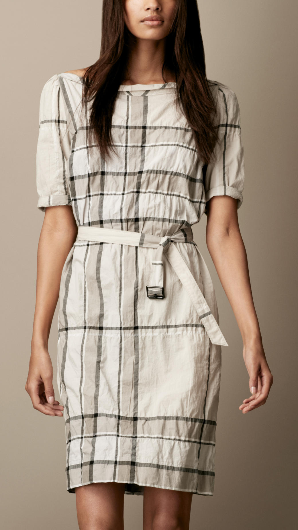 Burberry brit check shirt dress in natural lyst for Burberry brit checked shirt