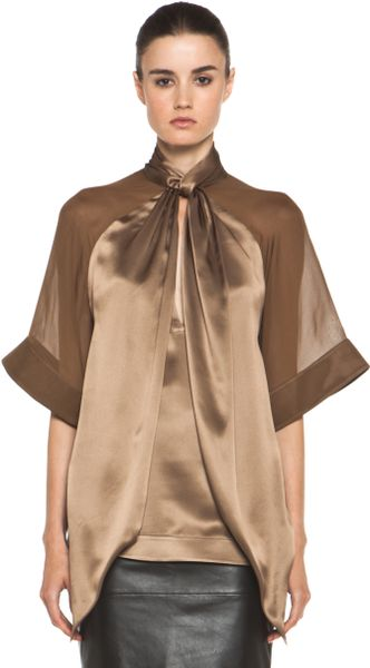 Givenchy Satin Tie Neck Blouse in Multi in Multicolor (multi)