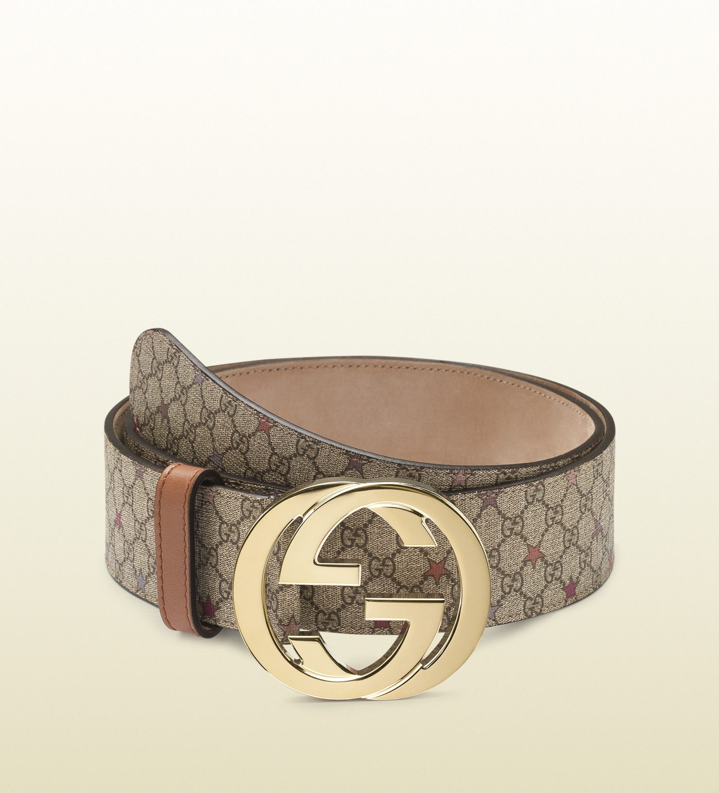 490e0f32a Gucci Supreme Canvas Belt with Interlocking G Buckle in Brown - Lyst