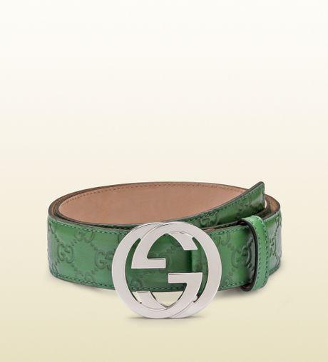 gucci green guccissima leather belt with interlocking g