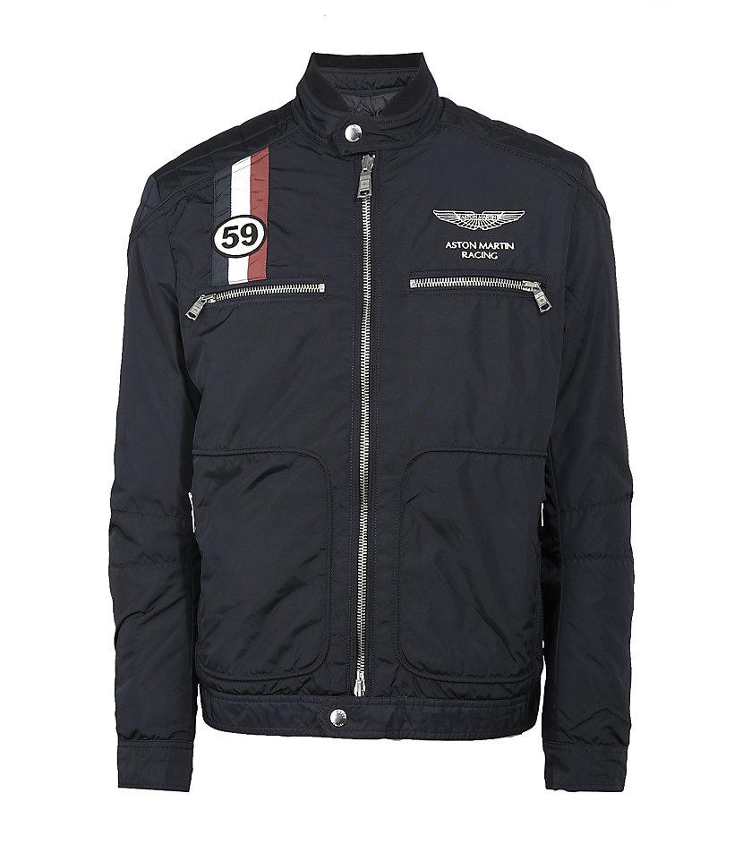 Hackett Aston Martin Racing Gb Moto Jacket In Blue For Men