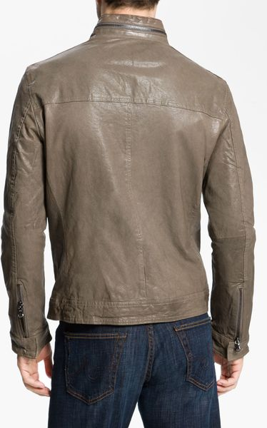 Kenneth Cole Leather Motorcycle Jacket In Brown For Men