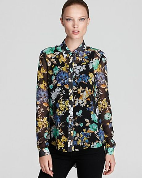 Sachin & Babi Floral Blouse Rimini with Pleated Back in Multicolor (jet floral)