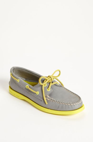 Sperry Top-sider Authentic Original Leather Boat Shoe in Gray (grey/ yellow) - Lyst