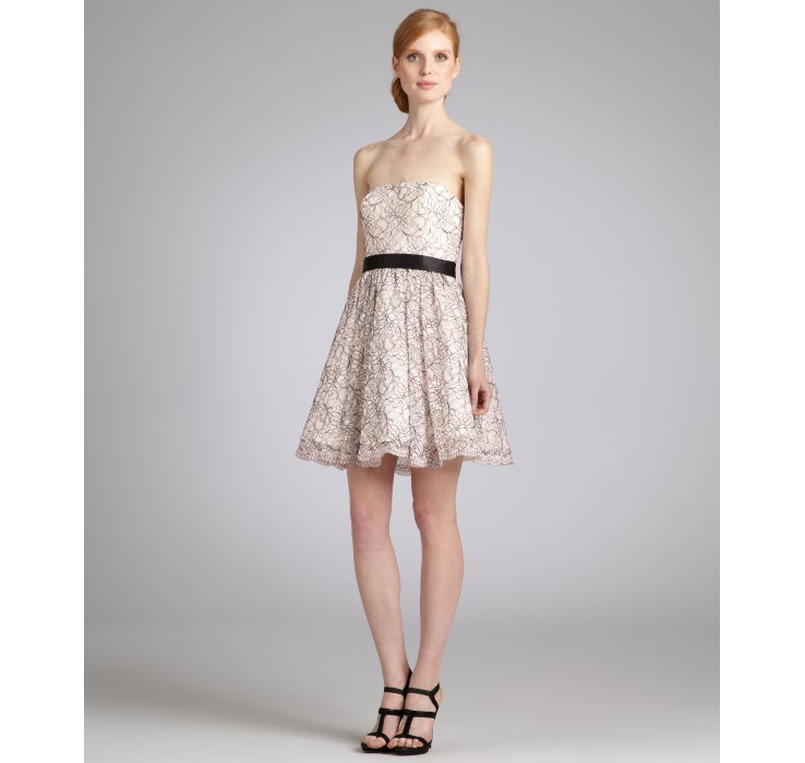 Lyst - Aidan Mattox Light Pink Lace Strapless Belted Cocktail Dress ...