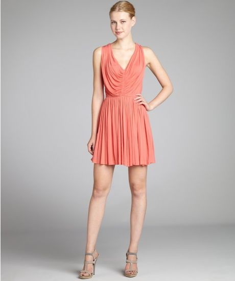 Alexander Mcqueen Pink Jersey Pleated Vneck Dress in Pink - Lyst