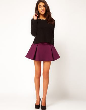 ASOS Collection Asos Structured Skater Skirt with Pleats - Lyst