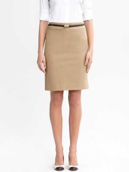 Banana Republic Sloan Pencil Skirt In Beige New Camel