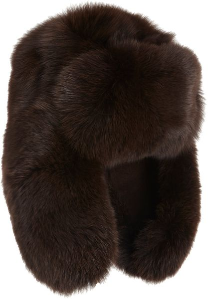 Barneys New York Reversible Chapka Trapper Hat in Brown - Lyst