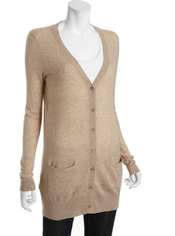 BCBGMAXAZRIA Light Heather Cashmere Long Cardigan - Lyst