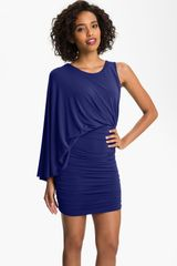 BCBGMAXAZRIA One Shoulder Jersey Blouson Dress - Lyst