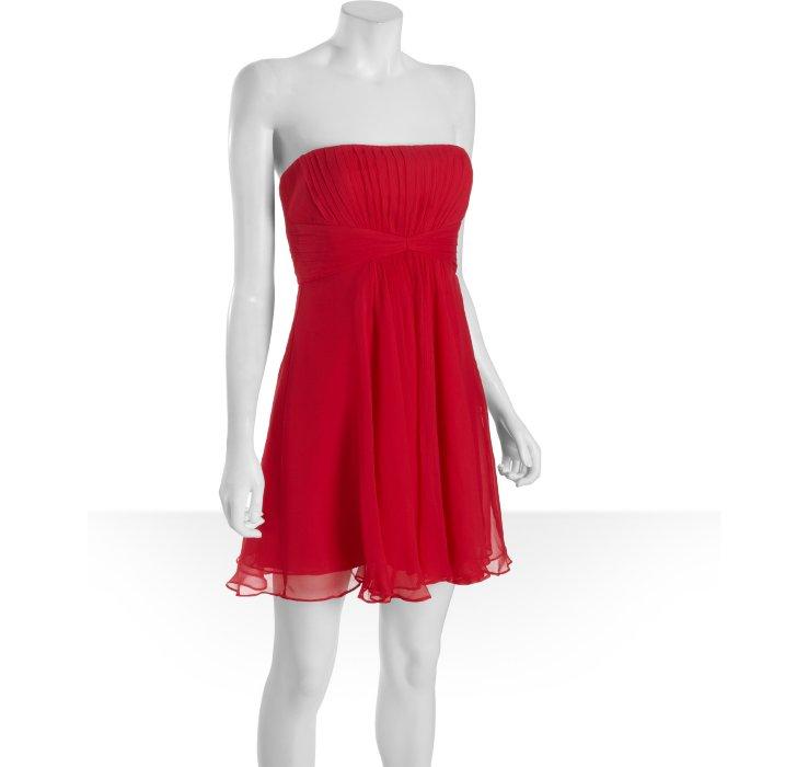 Lyst Bcbgmaxazria Ruby Red Silk Chiffon Duran Strapless