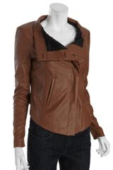 Bcbgmaxazria Toffee Faux Leather Drea Long Sleeve Jacket in Brown (toffee) - Lyst