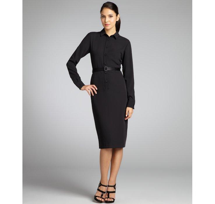 Long sleeve black belted dress