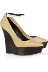 Burberry Prorsum Woven Wooden Wedge Pumps - Lyst
