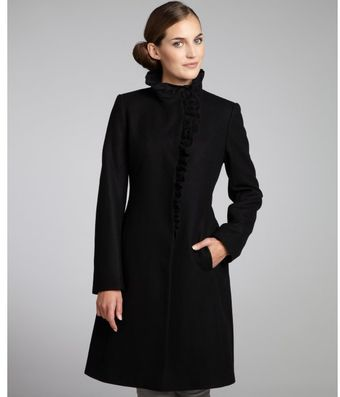DKNY Black Wool Blend Ruffle Front Coat - Lyst