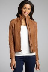 Dkny Camel Leather Quilted Shoulder Zip Front Motorcycle Jacket in Brown (camel) - Lyst