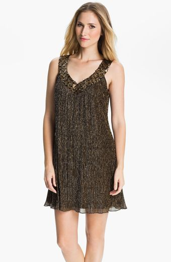 Donna Ricco Embellished Neck Metallic Trapeze Dress - Lyst