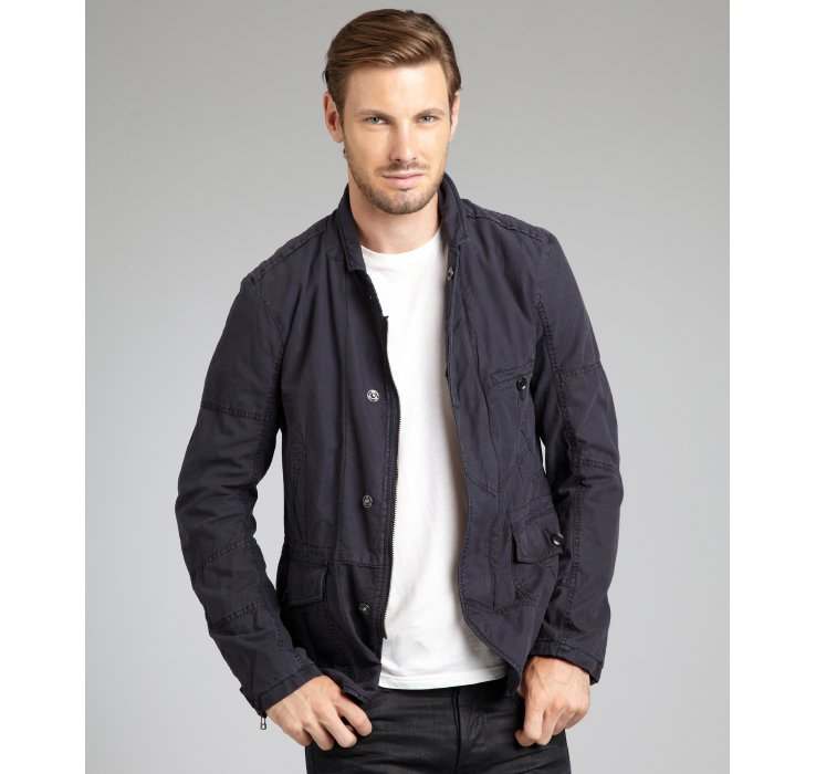 Edun navy cotton snap front cargo jacket in blue for men for Mens shirts with snaps instead of buttons