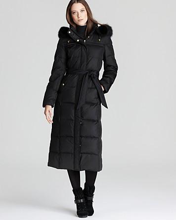 Ellen Tracy Belted Maxi Down Coat In Black Lyst