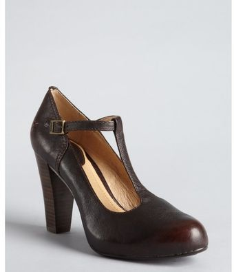 Frye Dark Brown Leather Miranda Tstrap Pumps - Lyst