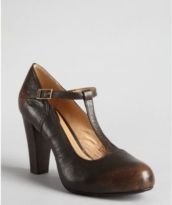 Frye Smoke Leather Miranda Tstrap Pumps - Lyst