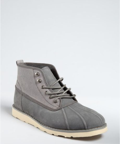 Generic Surplus Charcoal Grey Canvas and Suede Laceup Duck Boots in