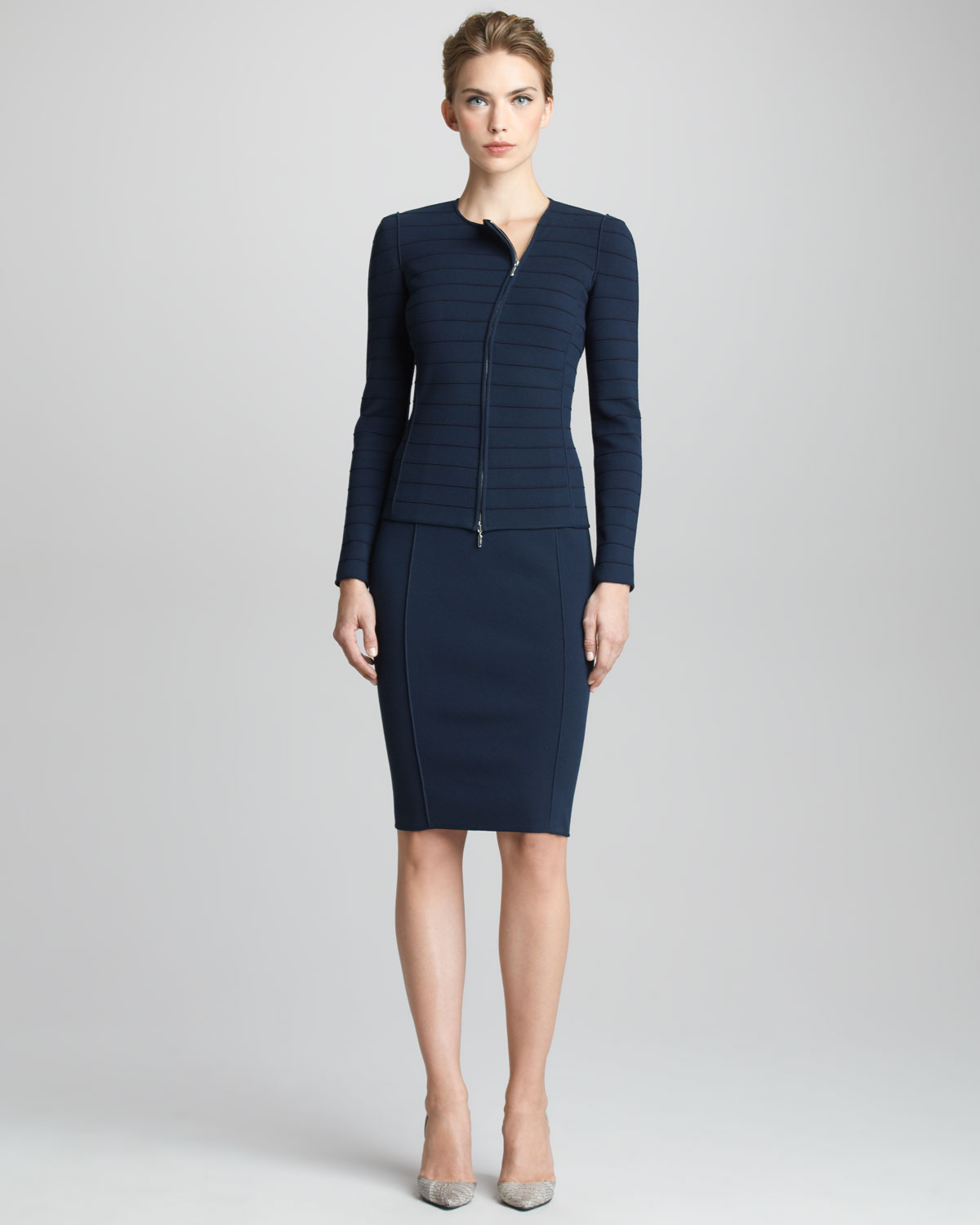 giorgio armani jersey pencil skirt in blue navy lyst