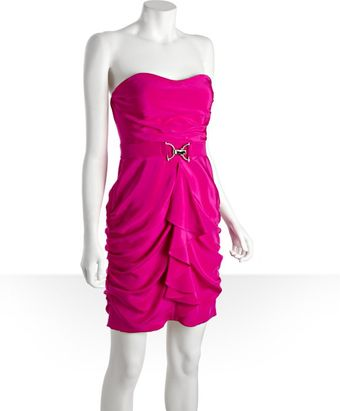 Hoaglund New York Shocking Berry Silk Horsebit Banded Ruffle Strapless Dress - Lyst