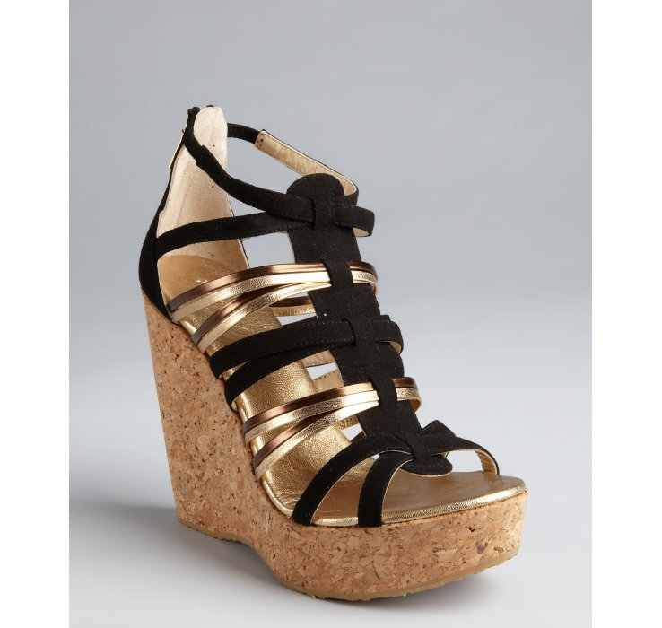 8a282b690723 ... australia lyst jimmy choo black suede cork wedge sandals in metallic  43343 70c9e