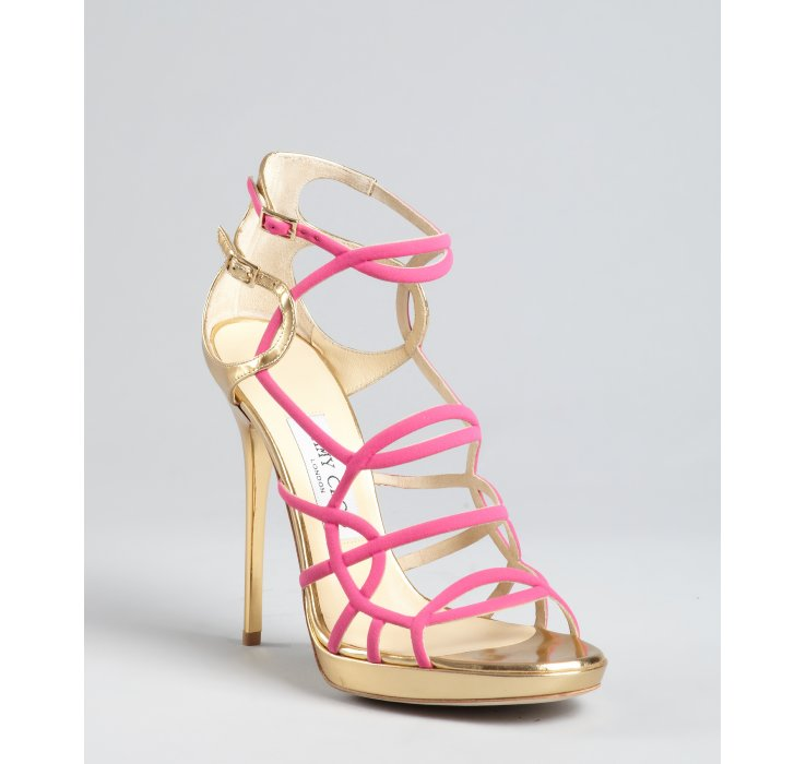 Lyst - Jimmy choo Hot Pink and Gold Leather Bunting Caged Sandals ...