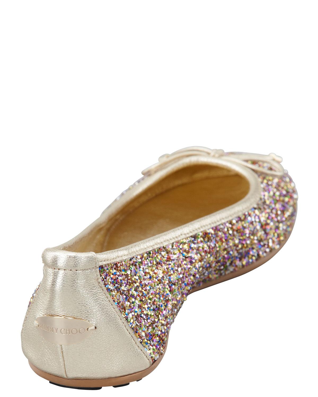 0be1d8b4d64 Lyst - Jimmy Choo Walsh Glitter Ballerina Flat