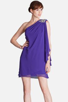Js Boutique Embellished One Shoulder Draped Chiffon Dress - Lyst