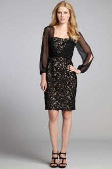 Black Lace Dress Long Sleeve on Black Silk Chiffon And Lace Long Sheer Sleeve Cocktail Dress   Lyst