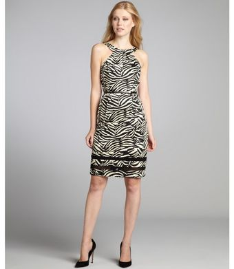 Kay Unger Black and White Zebra Stretch Cotton Belted Wiggle Dress - Lyst