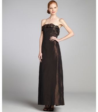 Kay Unger Chocolate Silk Taffeta Jeweled Bow Strapless Gown - Lyst