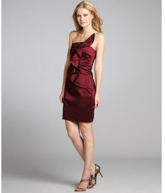Kay Unger Wine Taffeta One Shoulder Rhinestone Ruffle Dress - Lyst