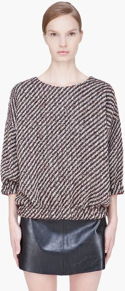 Kenzo Brown Diagonalstriped Wool Top - Lyst