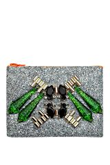 Mawi Mirrored Tubes Teadrop Crystals and Perxpex Spikes Single Glitter Clutch