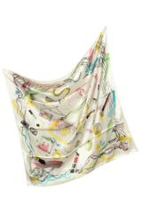 Moschino Cheap and Chic Makeup Print Silk Square Scarf - Lyst
