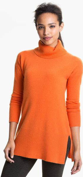 Only Mine Turtleneck Cashmere Tunic In Orange Lyst