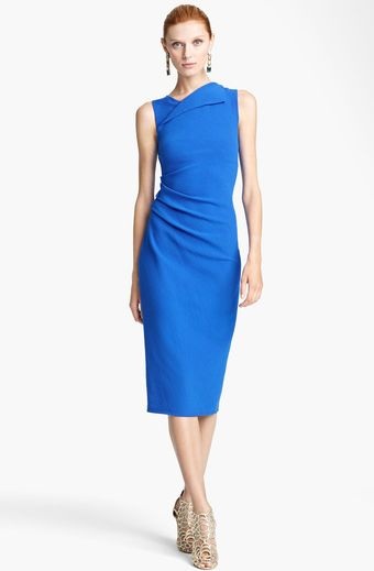 Oscar de la Renta Ruched Sheath Dress - Lyst