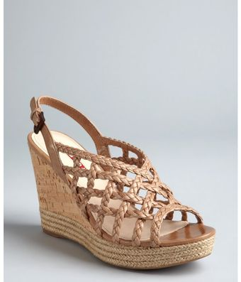 Prada  Braided Leather Cage Wedge Sandals - Lyst