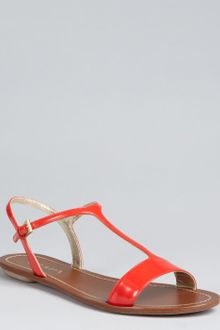 Prada  Patent Leather T-Strap Flat Sandals - Lyst