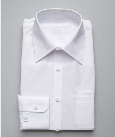 Prada Cotton Point Collar Tuxedo Shirt In White For Men Lyst