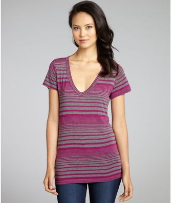 Rebecca Beeson Plum Variegated Stripe Knit Short Sleeve Vneck Top - Lyst