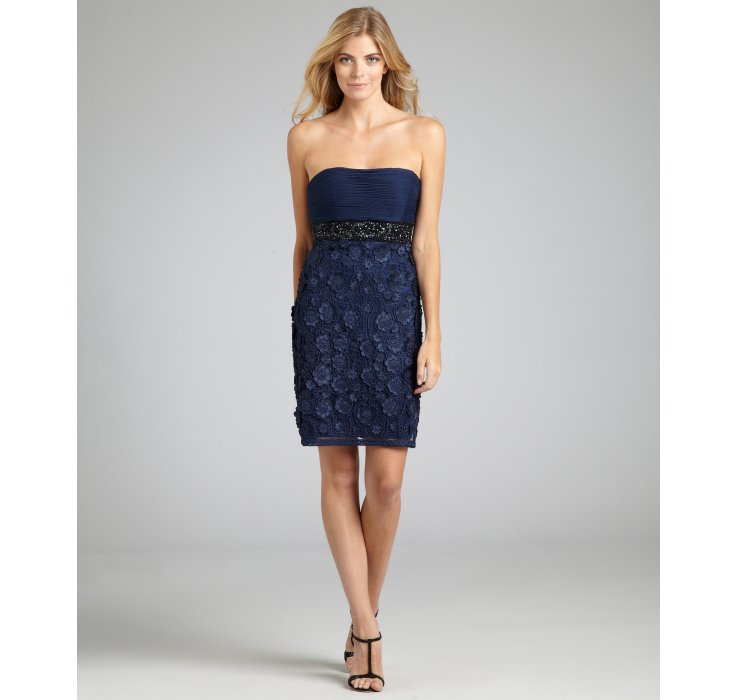 Sue wong Navy Flower Appliqué Beaded Strapless Dress in Blue - Lyst